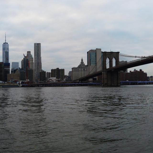 """Manhattan skyscrapers and Brooklyn Bridge NYC"" stock image"