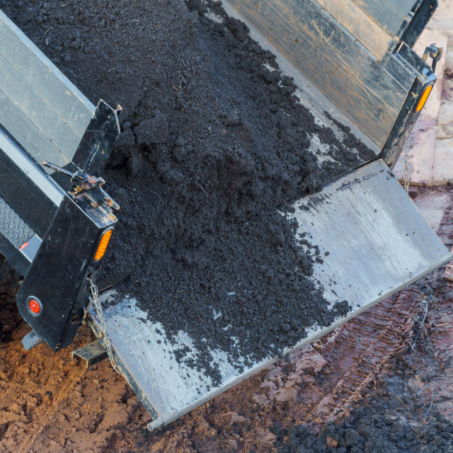 """""""Construction. To unload a truck dump truck"""" stock image"""