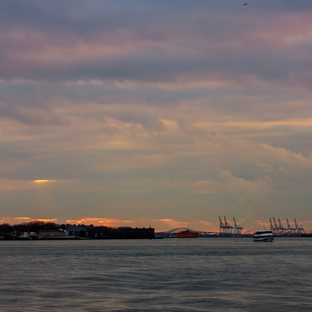 """""""Industrial container freight Trade Port scene at sunset Landmarks of New York..."""" stock image"""