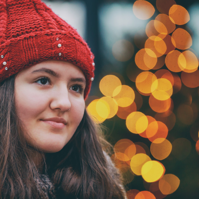 """""""beautiful girl gorgeous brunette girl, portrait in night city lights abstract..."""" stock image"""