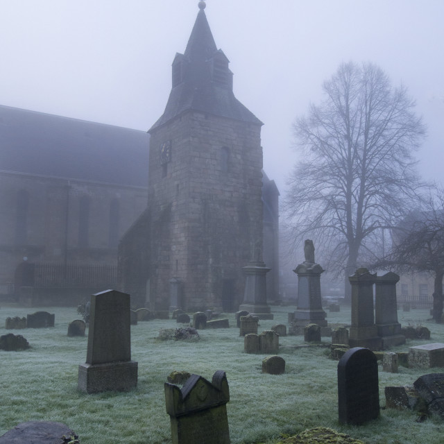 """Foggy Scottish graveyard"" stock image"