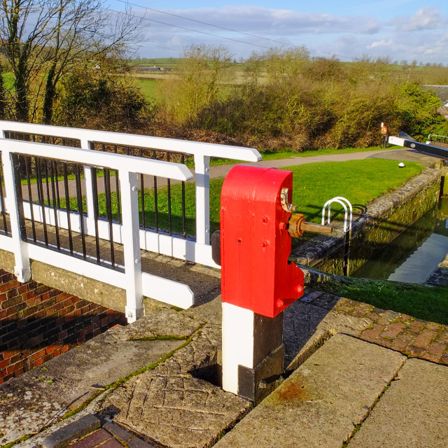 """Canal lock winding gear at Foxton Locks - 2"" stock image"