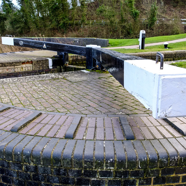 """Canal lock gates at Foxton"" stock image"