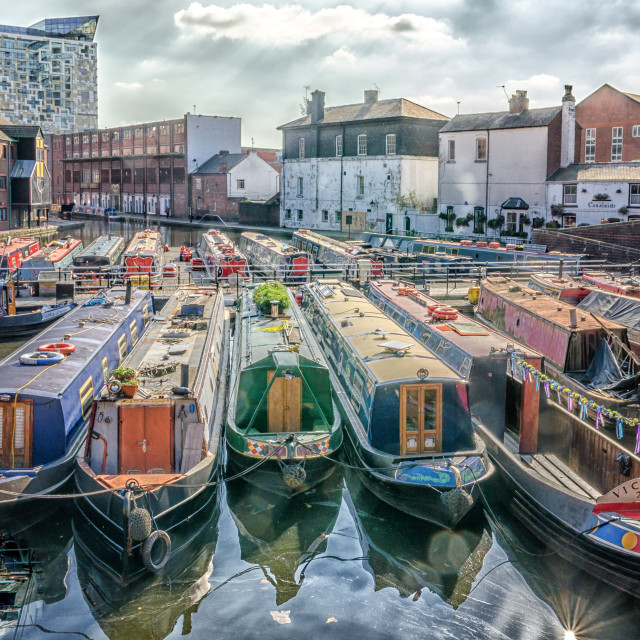 """Colourful Canal Boats moored at Gas Street Basin, Birmingham"" stock image"