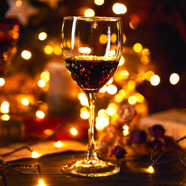 """""""Banner size 16 in 9. Festive atmosphere in the evening with a glass of red..."""" stock image"""