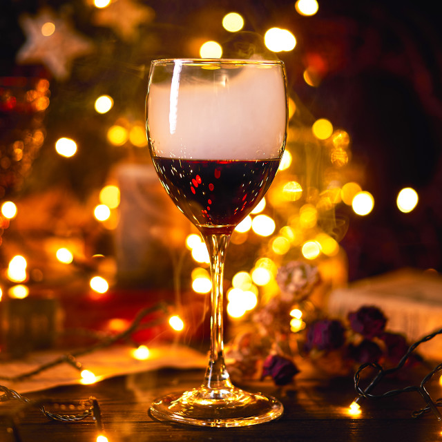 """""""Banner size 16 in 9. Festive atmosphere with a glass of red wine. Smoke..."""" stock image"""