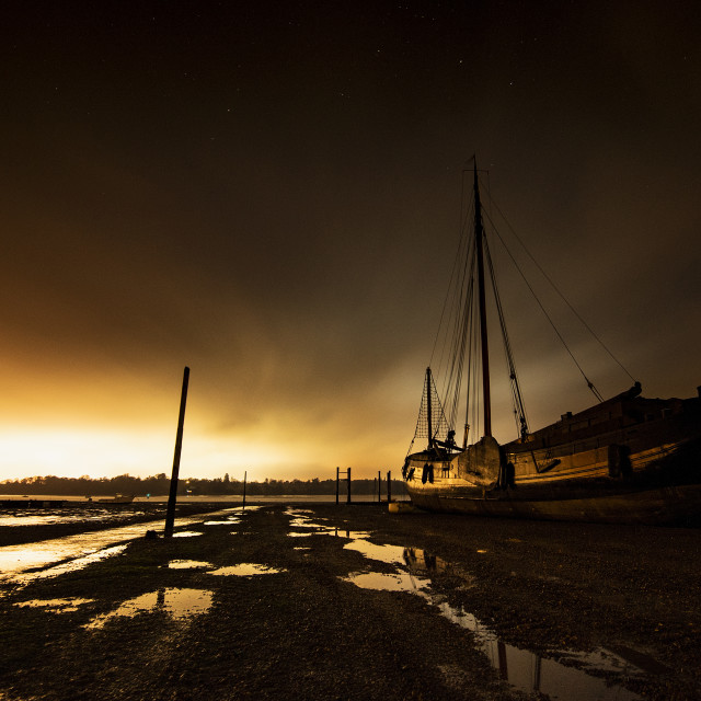 """The Pin Mill Hard at Night"" stock image"