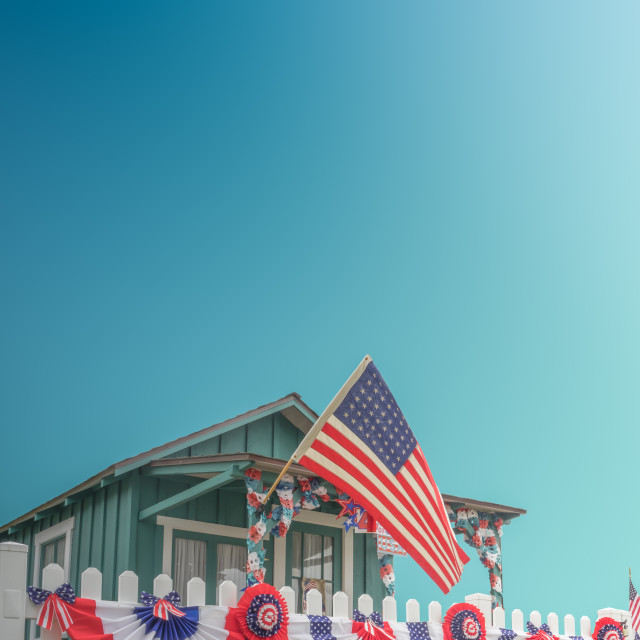 """""""White Picket Fence Patriotic USA Home"""" stock image"""