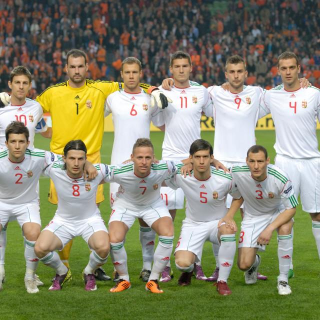 """Football - Euro 2012 Qualifier - Netherlands vs. Hungary"" stock image"