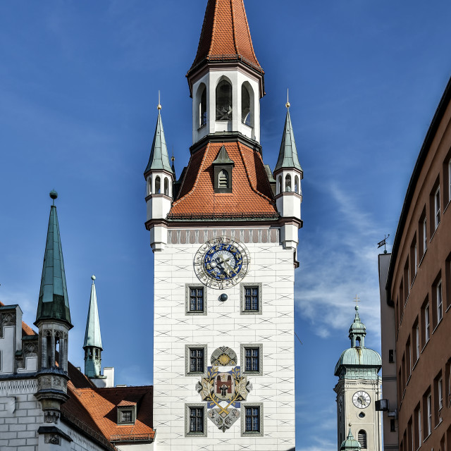"""Old Town Hall tower, Marienplatz, Munich, Germany"" stock image"