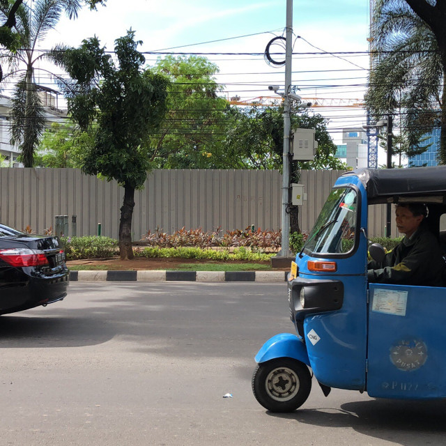 """Bajaj, another Jakarta Transportation"" stock image"