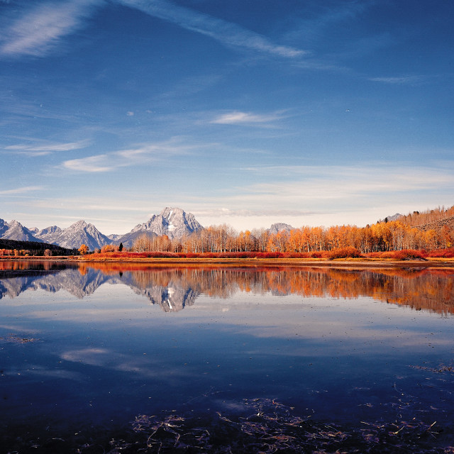 """""""Wyoming Twilight Reflection"""" stock image"""