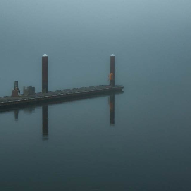 """Dock in the Fog"" stock image"