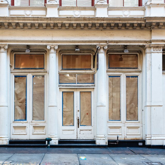 """Luxury old storefront in remodeling in New York"" stock image"