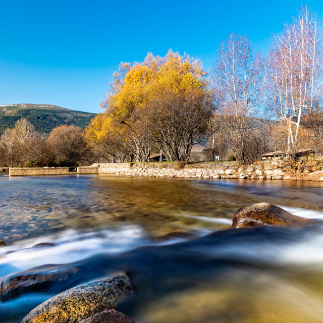 """""""Water flowing over a small dam in Autumn"""" stock image"""