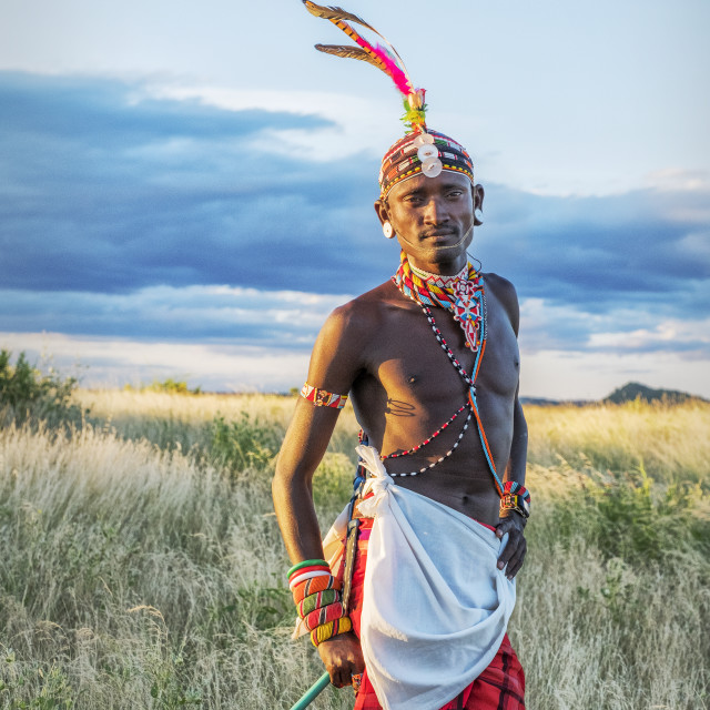 """Portrait single Samburu tribal member in traditional clothing, Kenya."" stock image"