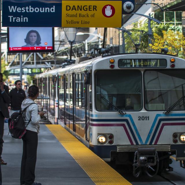 """Downtown Calgary train station, Alberta, Canada, North America"" stock image"