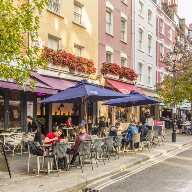 """Outdoor cafes and restaurants on James Street, in Marylebone, in London,..."" stock image"