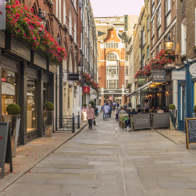 """St Christopher's Place, a pedestrianised shopping street, in Marylebone in..."" stock image"