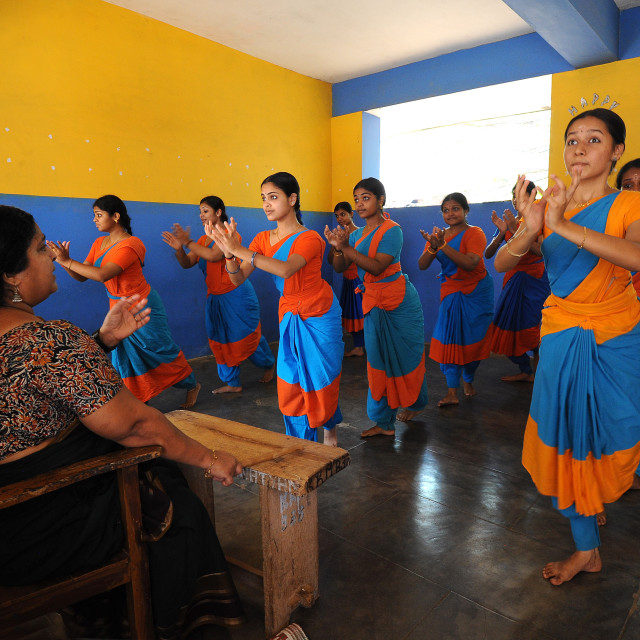 """Students practising Kathakali dance with teacher, Kalamandalam University for..."" stock image"
