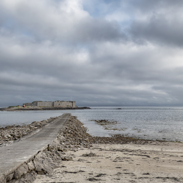 """Causeway to Fort Ile de Raz"" stock image"
