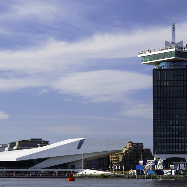 """""""A'DAM Tower and Eye Film Museum, Amsterdam, Noord Holland, Netherlands"""" stock image"""