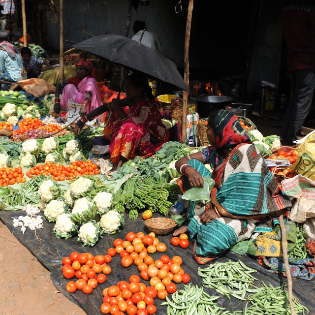 """""""Weekly vegetable market, Koraput, Odisha"""" stock image"""