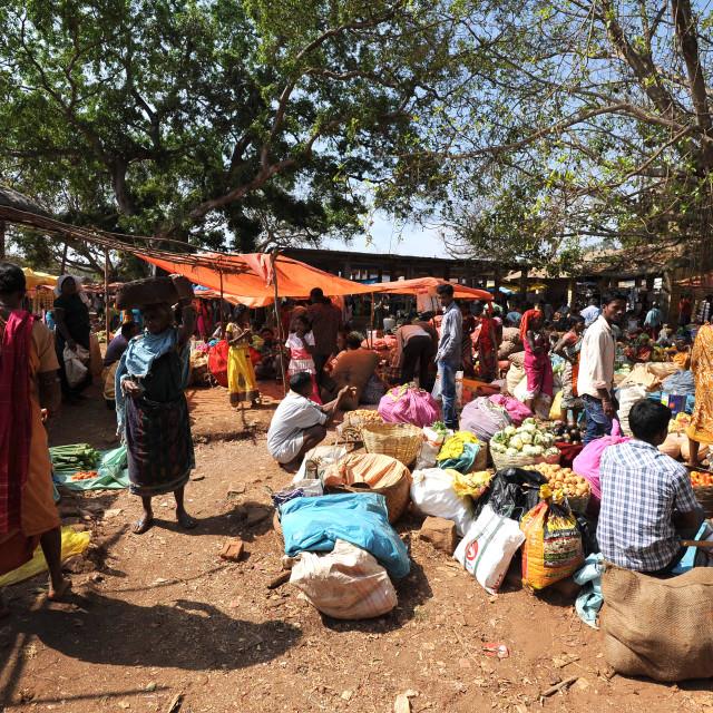 """Busy, weekly tribal market of the Mali tribespeople in Koraput, Odisha"" stock image"