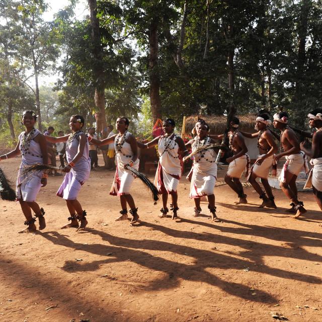 """Dhurua tribal men and women performing rare traditional tribal dance to..."" stock image"