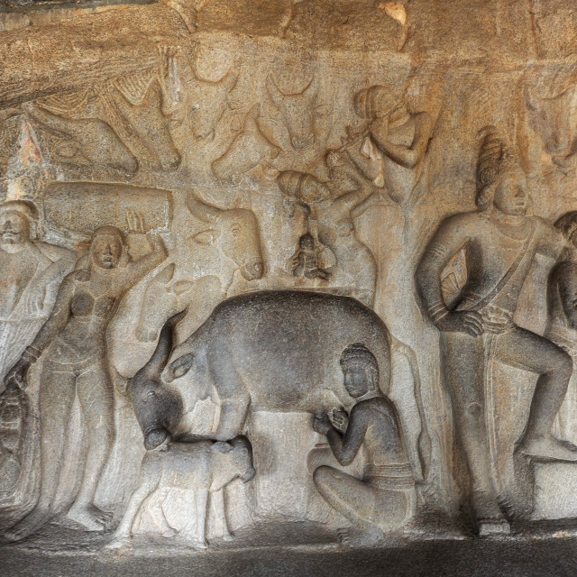 """Part of beautiful 7th century rock carved in the Varaha Cave temple,..."" stock image"