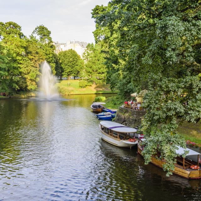 """""""Riga Canal, Bastejkalna Parks, Riga, Latvia"""" stock image"""