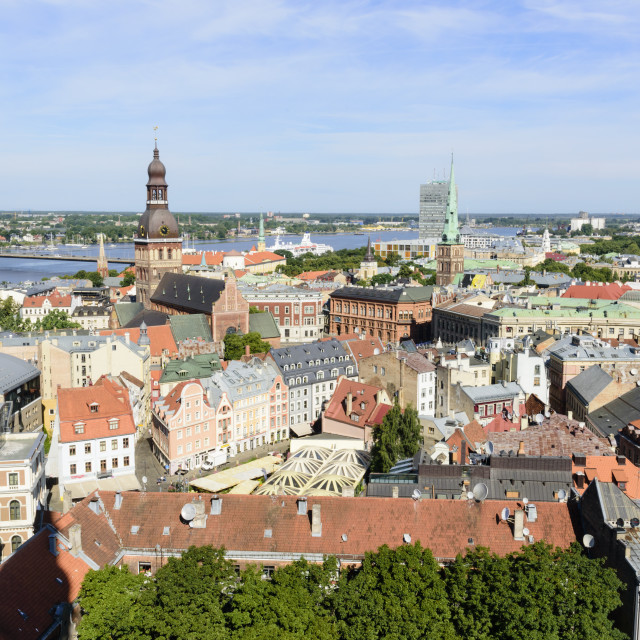 """""""View of Old Town, Riga, Latvia"""" stock image"""