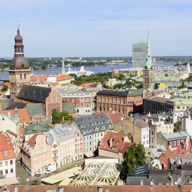 """View of Old Town, Riga, Latvia"" stock image"