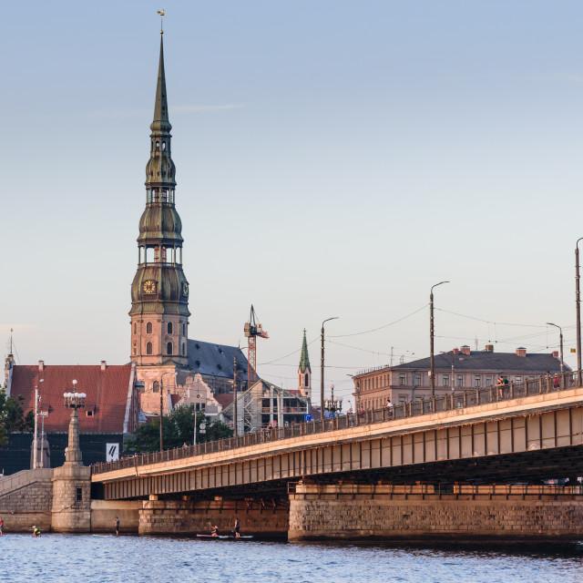 """Sunset View from Daugava River, Riga, Latvia"" stock image"