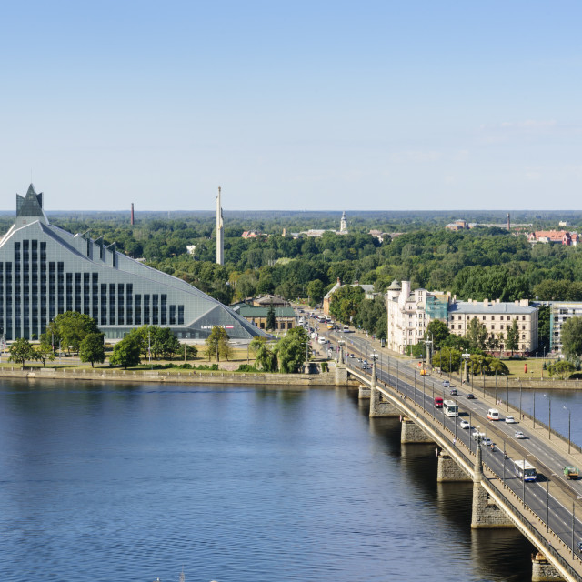 """""""National Library with Victory Monument and Victory Park behind, Riga, Latvia"""" stock image"""