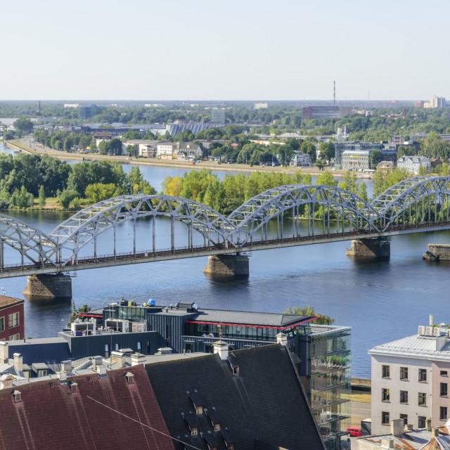 """Daugava River and Railway Bridge, Riga, Latvia"" stock image"