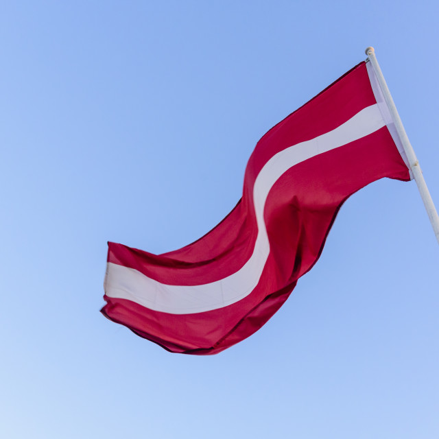"""Latvian national flag, Riga, Latvia"" stock image"