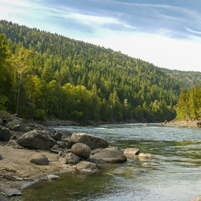 """""""View of Clearwater River and meadows near Clearwater, British Columbia,..."""" stock image"""