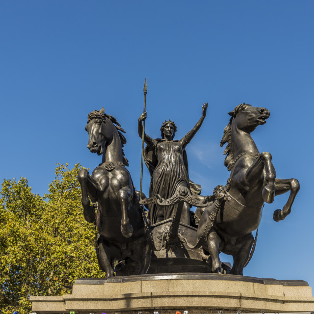 """""""The Boadicea and Her Daughters statue on Westminster Bridge in London,..."""" stock image"""