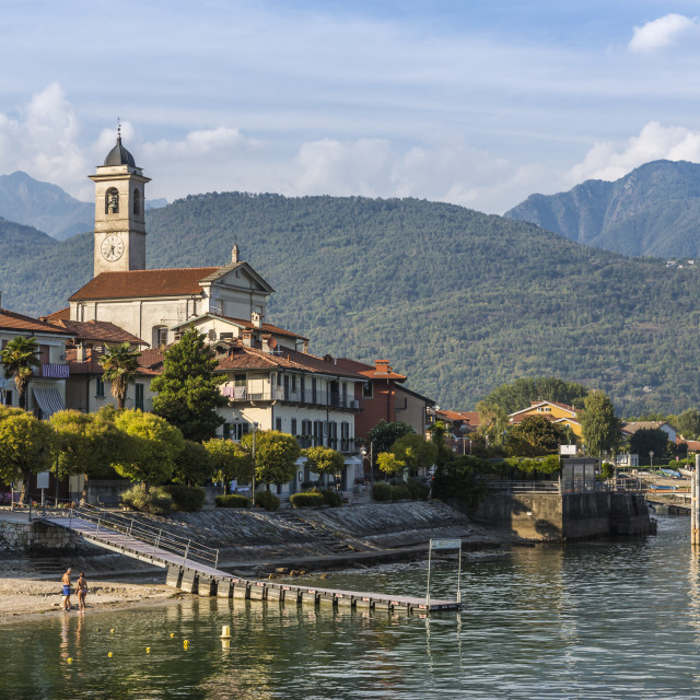 """""""View of Feriolo town and church bell tower on Lake Maggiore, Lago Maggiore,..."""" stock image"""