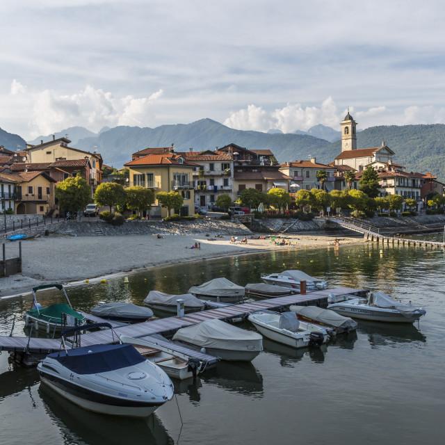 """""""View of Feriolo and boats on Lake Maggiore, Lago Maggiore, Piedmont, Italy,..."""" stock image"""