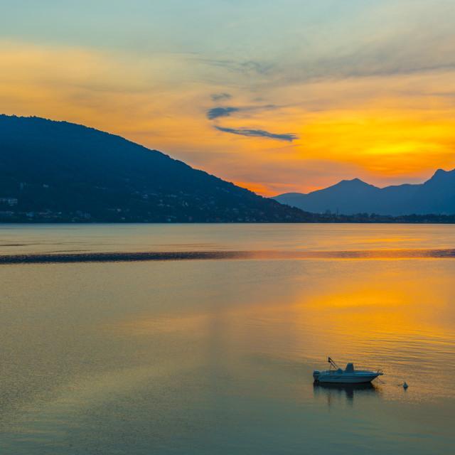 """""""View of sunrise on Lake Maggiore from Baveno, Lago Maggiore, Piedmont, Italy,..."""" stock image"""