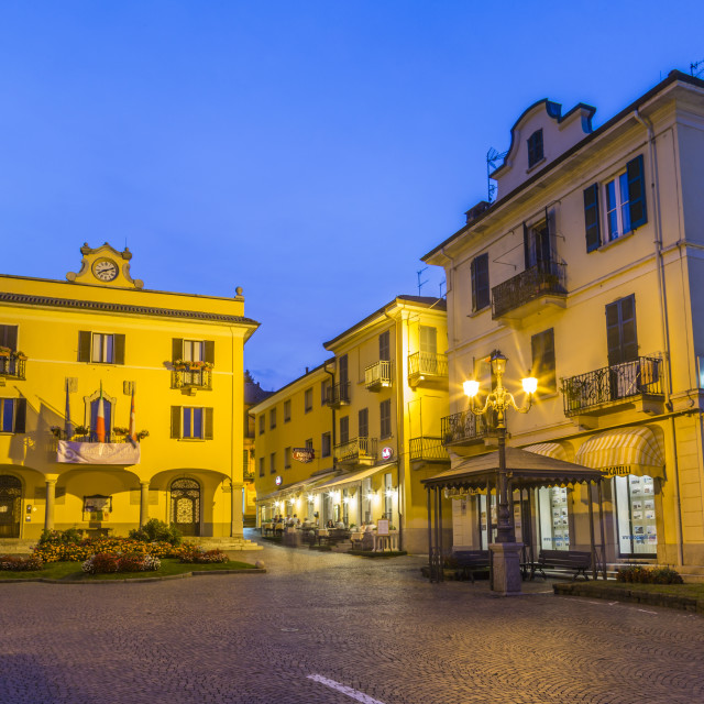 """""""View of restaurant and architecture at dusk in Stresa, Lago Maggiore,..."""" stock image"""