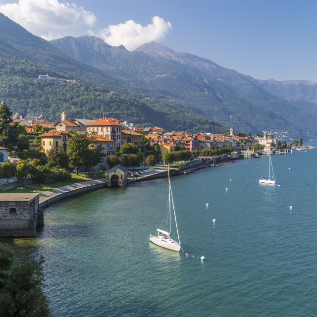 """Elevated view of Cannobio and Lake Maggiore, Lake Maggiore, Piedmont, Italy,..."" stock image"