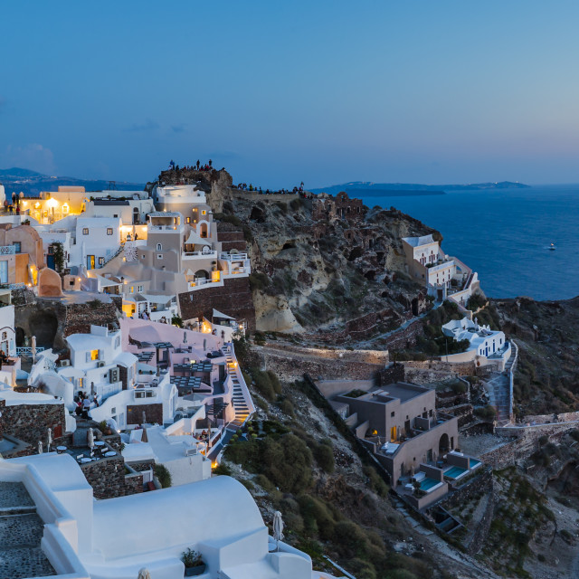 """Sunset afterglow at dusk in Oia, Santorini, Greek Island, Greece, Europe"" stock image"