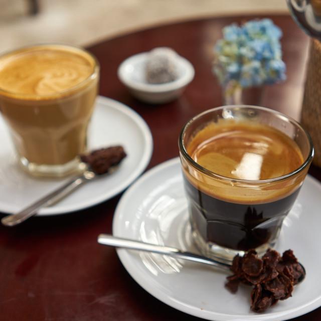 """Cups of Indonesian coffee in Ubud."" stock image"