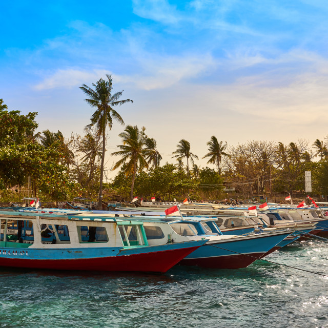 """""""Boats moored in Gili Air's harbour."""" stock image"""