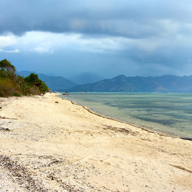 """""""Beach in Gili Air with Lombok in background."""" stock image"""