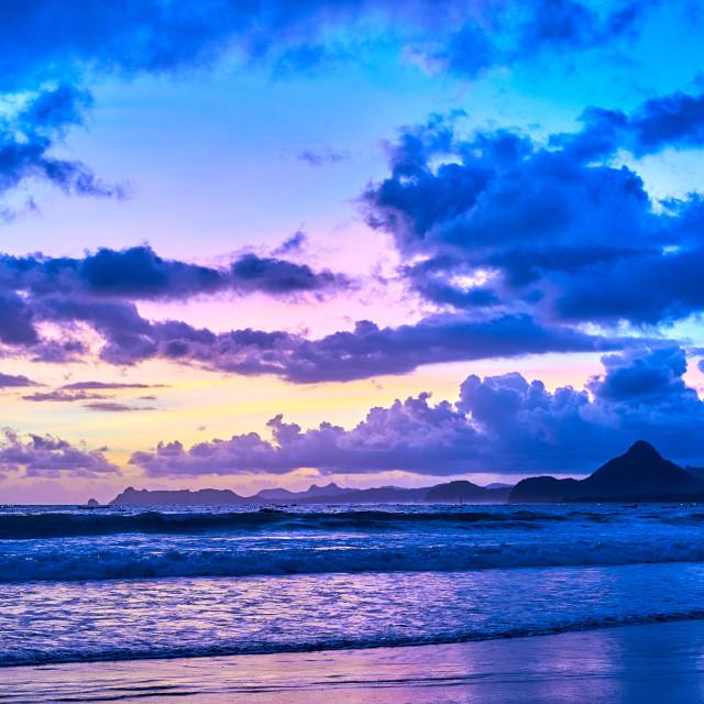 """""""Amazing twilight on Selong Belanak Beach."""" stock image"""