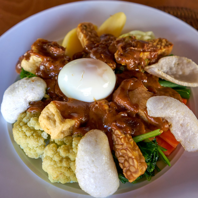 """Gado gado is an Indonesian national dish, with fried tofu & tempeh."" stock image"